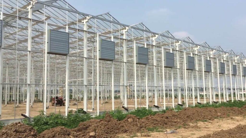 گلخانه ی شیشه ای با سقفی قله ای