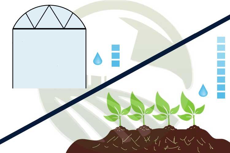 صرفه جویی در مصرف آب در گلخانه نسبت به مزرعه
