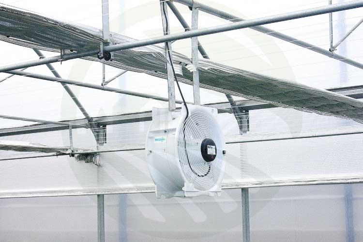 فن های لایه زدایی هوا به طور فزاینده برای مخلوط کردن هوا در گلخانه استفاده می شود